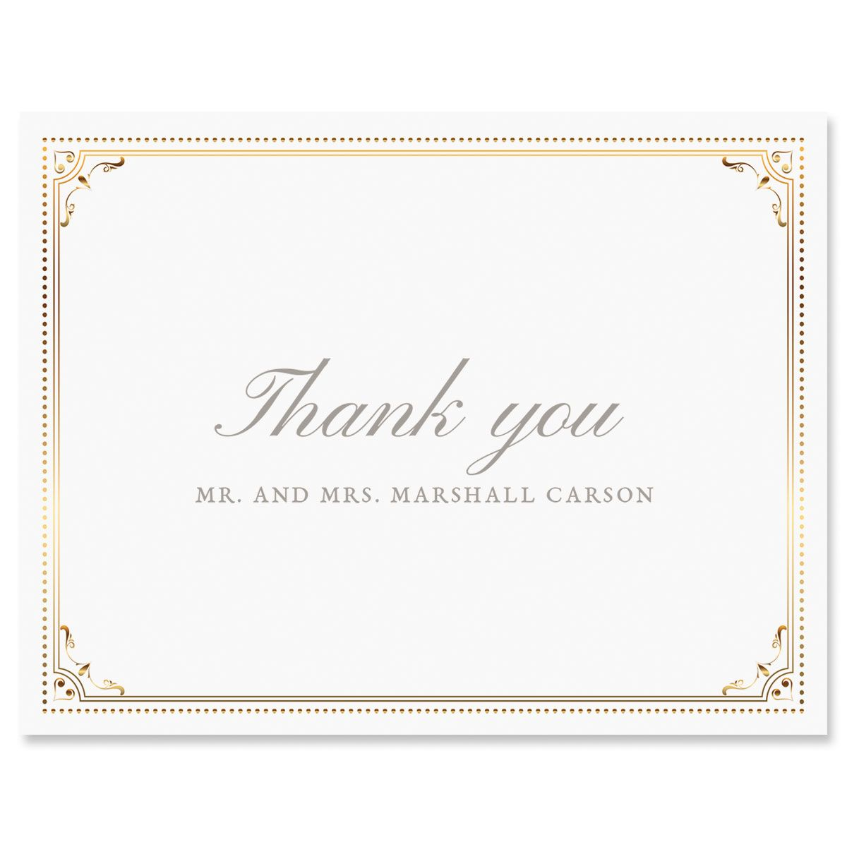 Gold Frame Personalized Thank You Cards