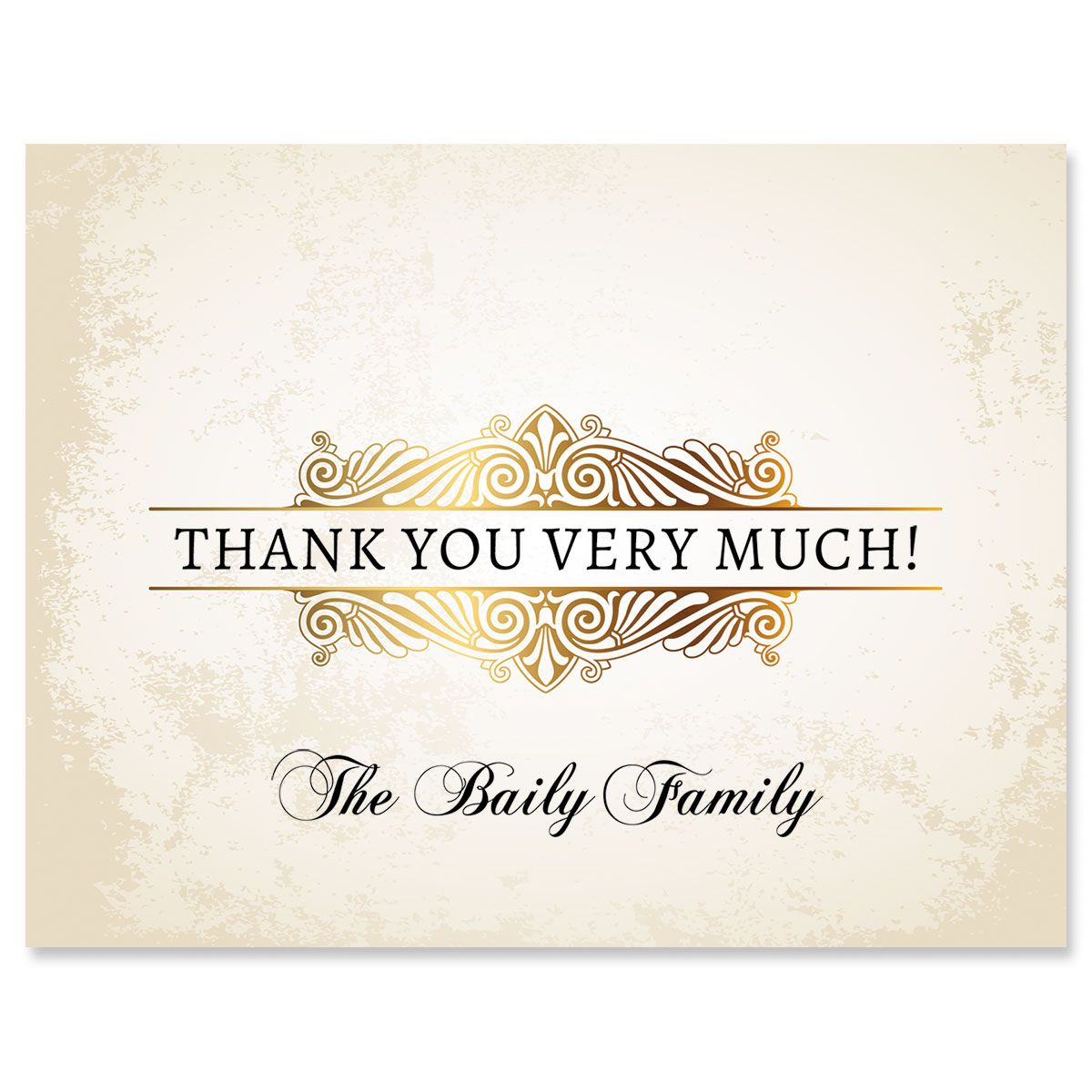 Rustic Gold Personalized Thank You Cards