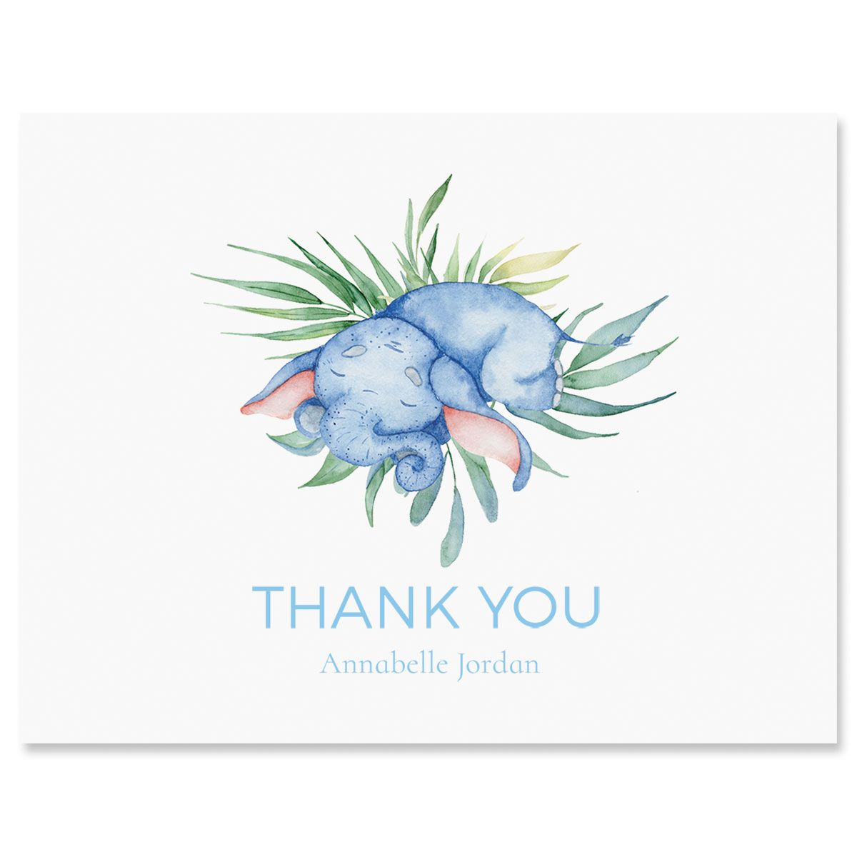 Sleeping Elephant Personalized Thank You Cards