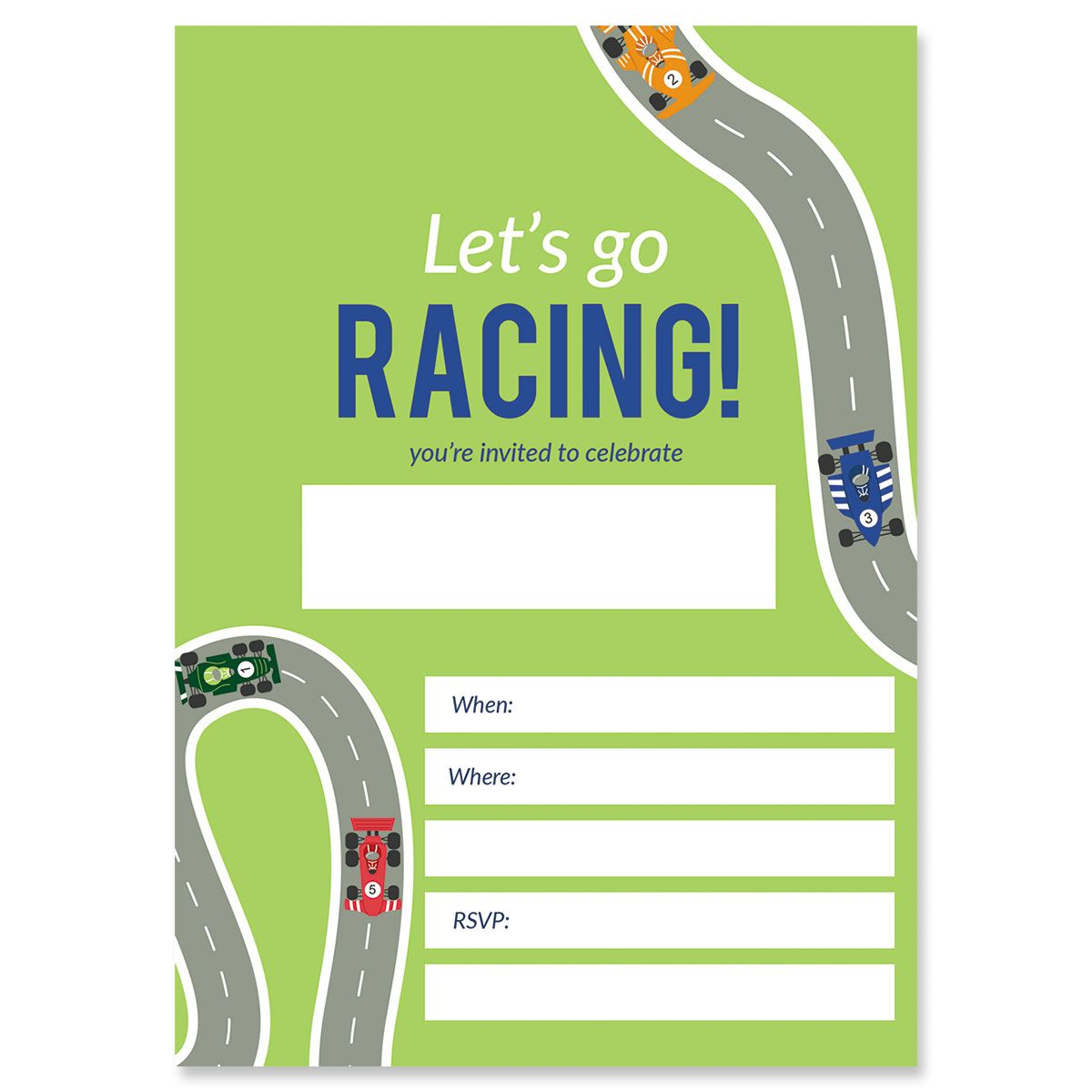 Race Car Birthday Fill In The Blank Invitations