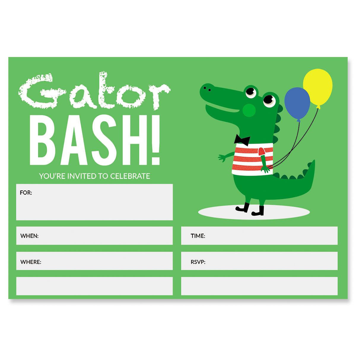 Gator Birthday Fill In The Blank Invitations