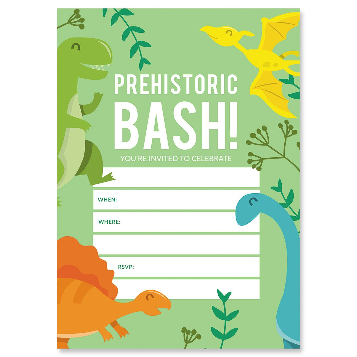 Prehistoric Bash Birthday Fill In The Blank Invitations