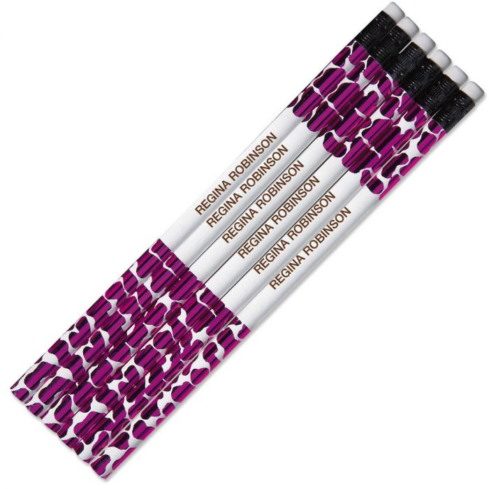 Pink Leopard Personalized Pencils