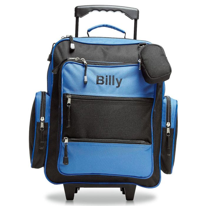 Blue and Black Rolling Luggage