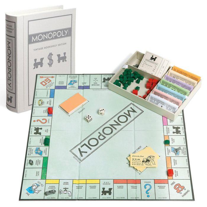 Vintage Bookshelf Monopoly Game