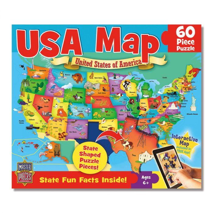 60 Piece Usa Map Puzzle Lillian Vernon - Interactive-us-map-puzzle