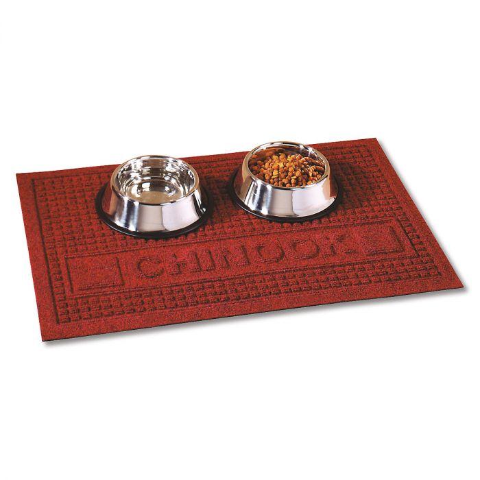 Textured Pet Dining Mat-Red-2L094F