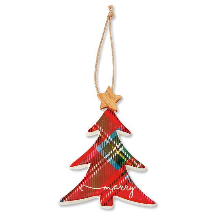 Christmas Tree Tartan Ceramic Ornament