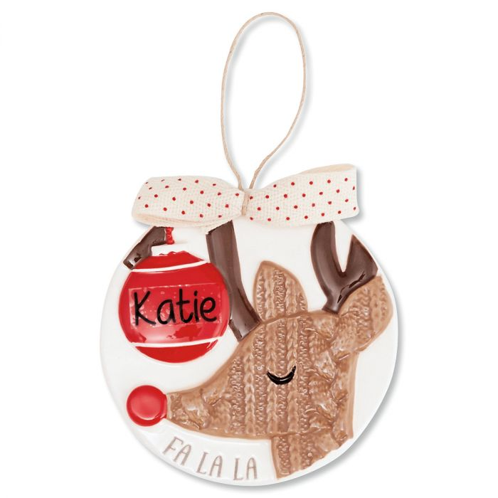 Reindeer Porcelain Personalized Ornament