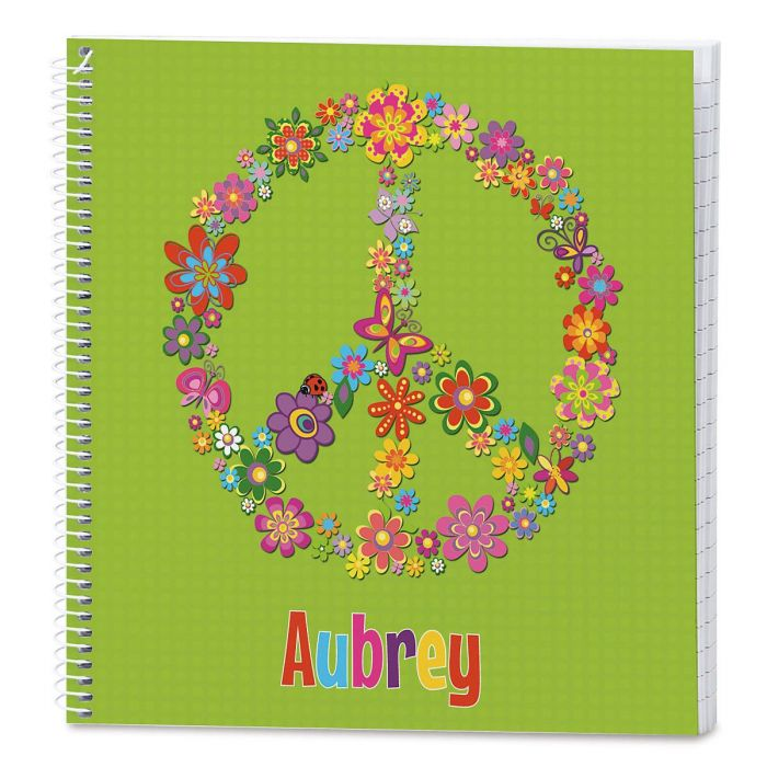 Floral Peace Sign Lined Journal