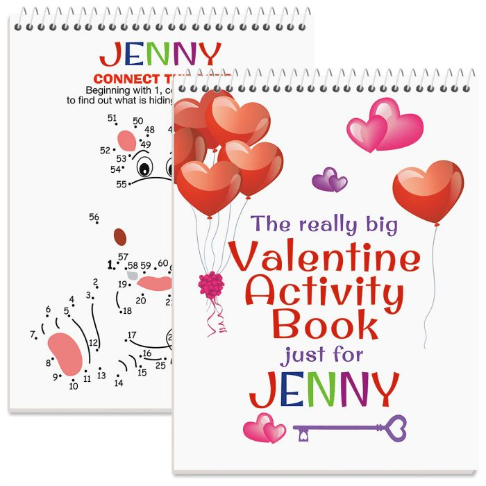 Personalized Really Big Valentine Activity Book - Girl