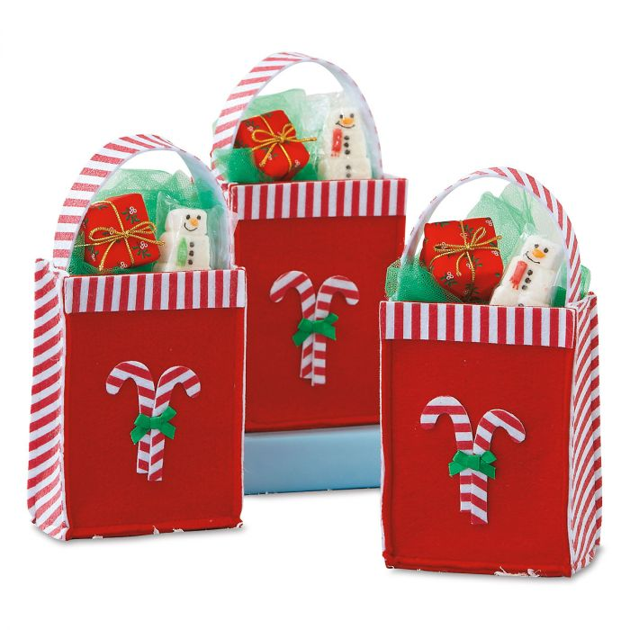 Candy Cane Felt Treat Party Bags