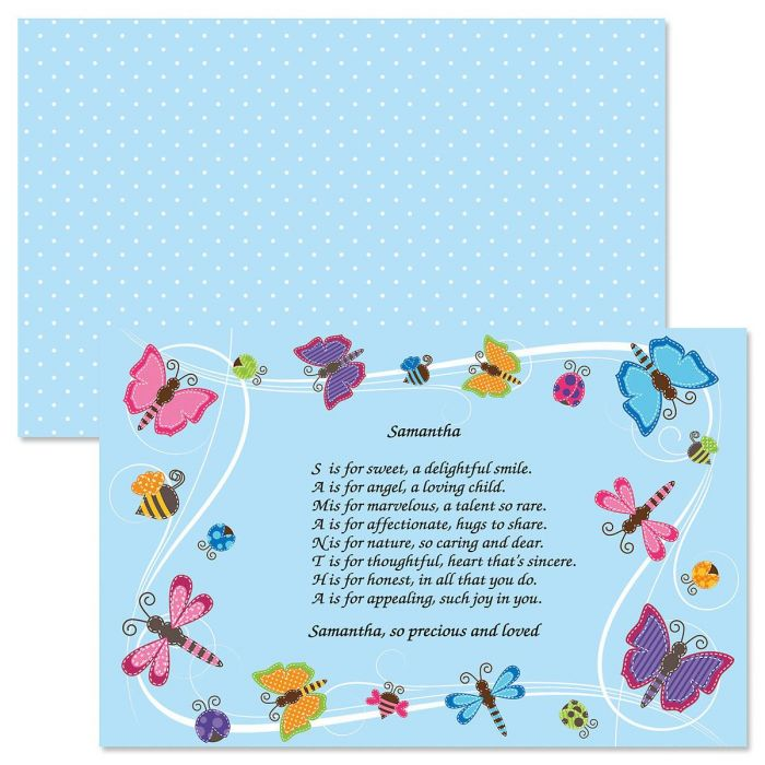 Butterflies Name Poem Kids' Placemat