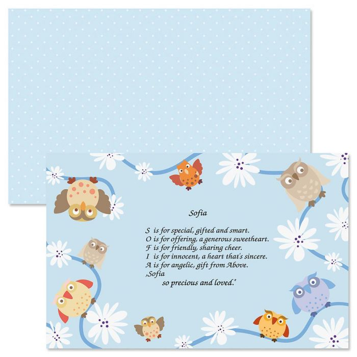 Owls Name Poem Kids' Placemat