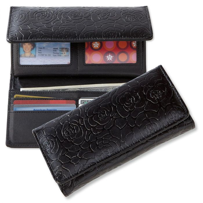 Black Wallet with Embossed Rose Pattern