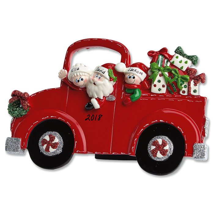 Red Truck and Santa Tabletop Easel Personalized Ornaments