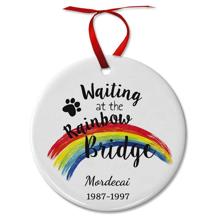 Pawprints Pet Remembrance Ceramic Personalized Christmas Ornaments