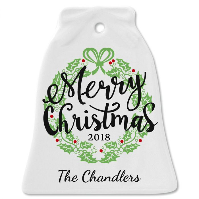 Merry Christmas Ceramic Personalized Christmas Ornament