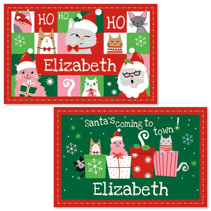 Personalized Christmas Cat Kids' Placemat