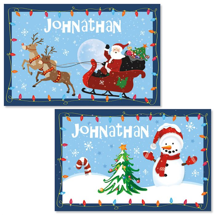 Personalized Santa and Sleigh Kids' Placemat
