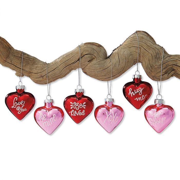 valentines glass heart ornaments lillian vernon