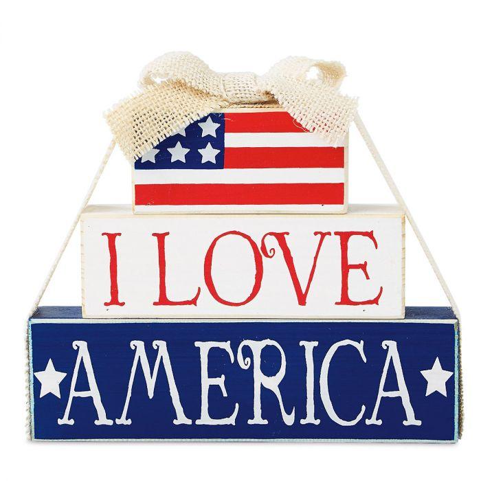 I Love America Wooden Decoration