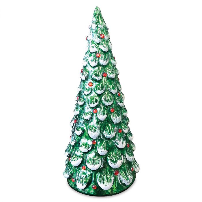Light-Up Green Glass Tree