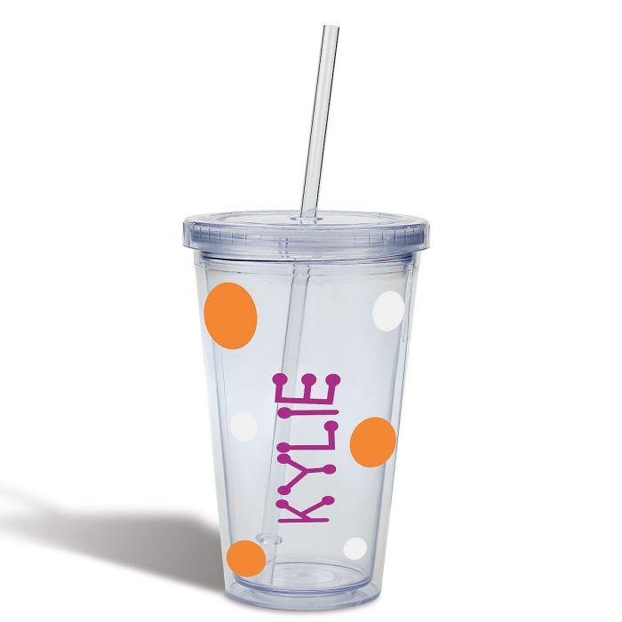 Acrylic Drink Cup - Orange Dots