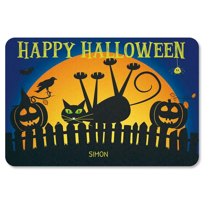 Cat Personalized Halloween Doormat - 1 Name