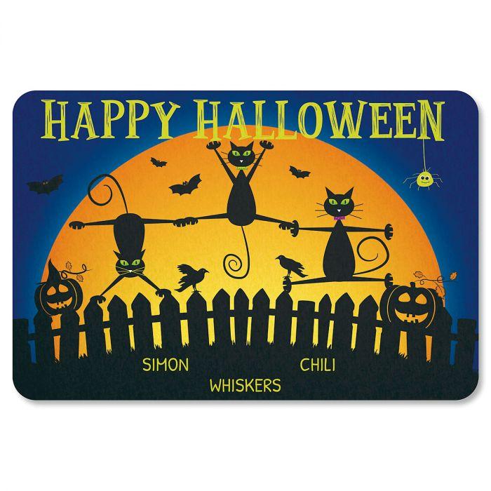 Cats Personalized Halloween Doormat - 3 Names