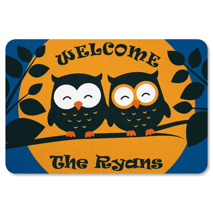 Owl Personalized Halloween Doormat