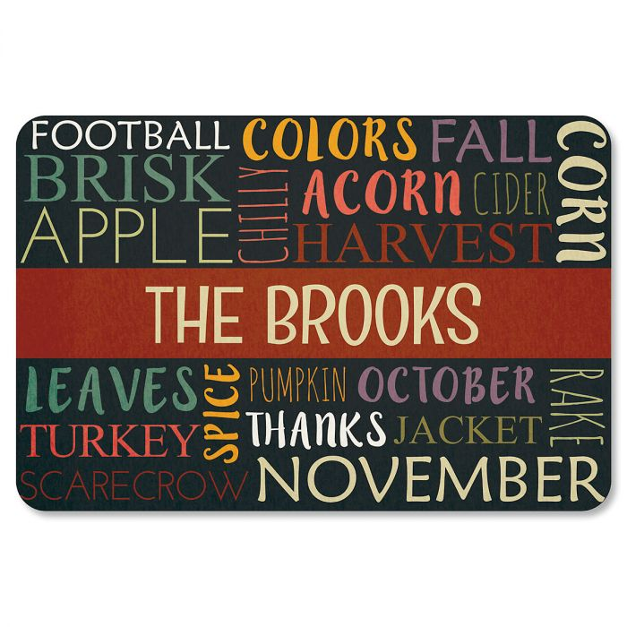 Autumn Words Personalized Thanksgiving Doormat