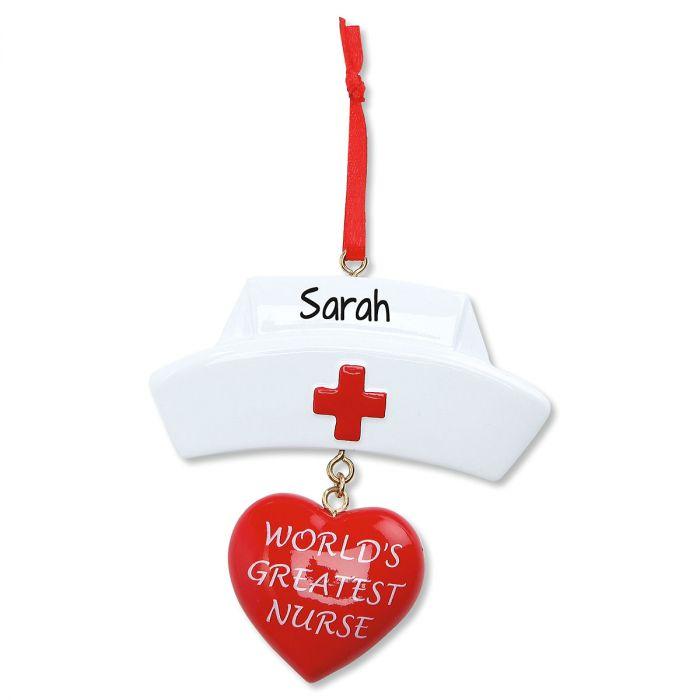 Nurses Cap Personalized Christmas Ornament