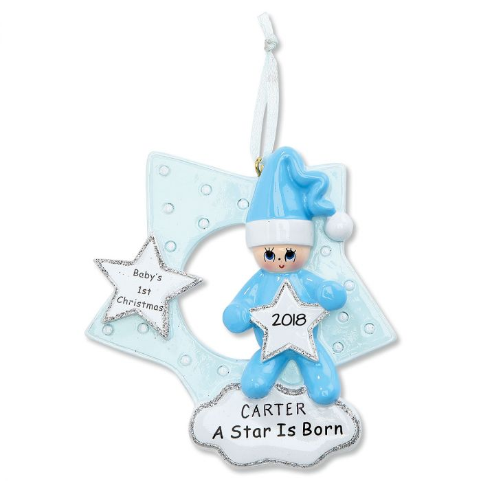 Blue Star Baby's 1st  Personalized Christmas Ornament