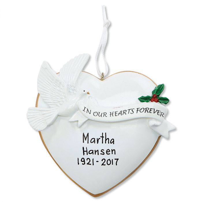 Heart Dove Personalized Christmas Ornament