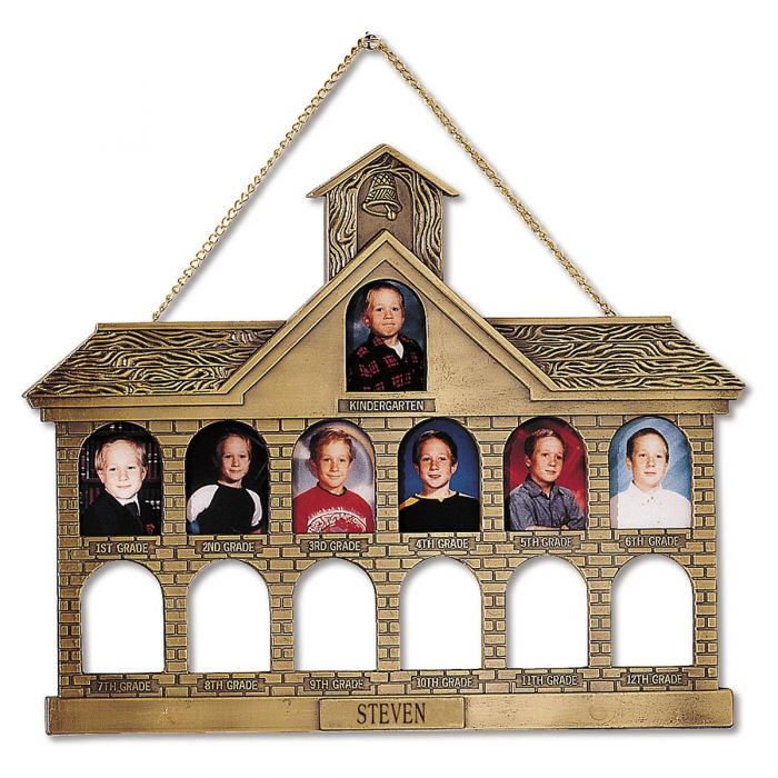 Gold Finish Personalized Schoolhouse Frame