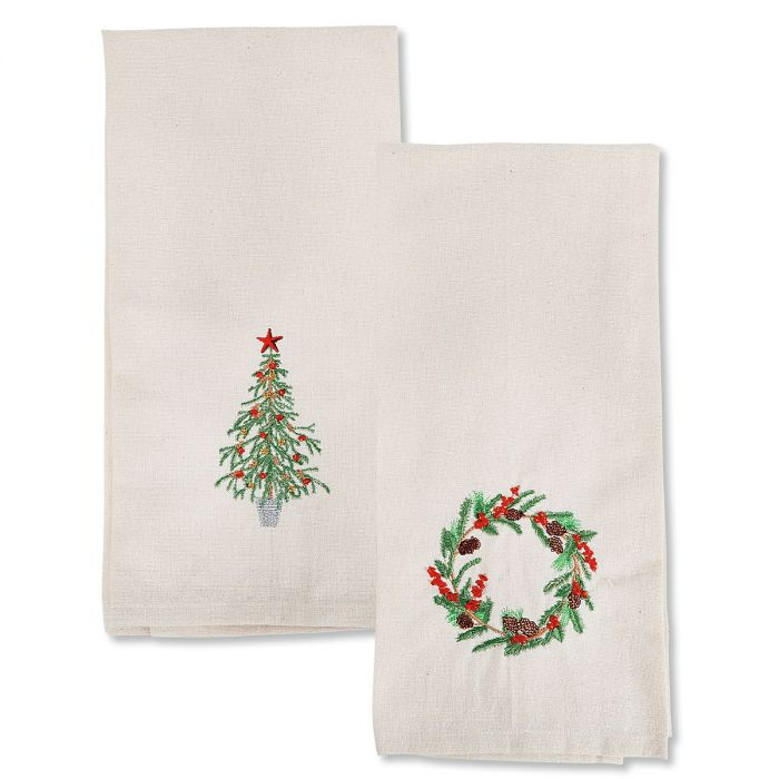 Christmas Embroidered Dish Towels