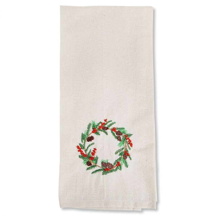 Christmas Wreath Embroidered Dish Towel