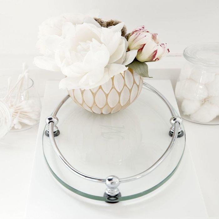 Monogrammed Glass Vanity Tray