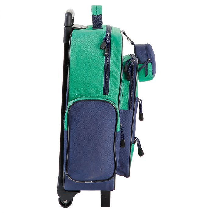 """Navy and Green 18"""" Rolling Luggage"""