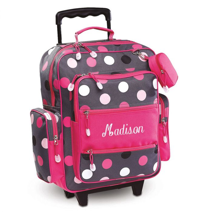 Grey Multi-Dots Rolling Luggage