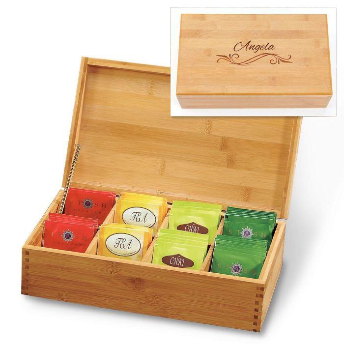 Bamboo Tea Box with Flourish