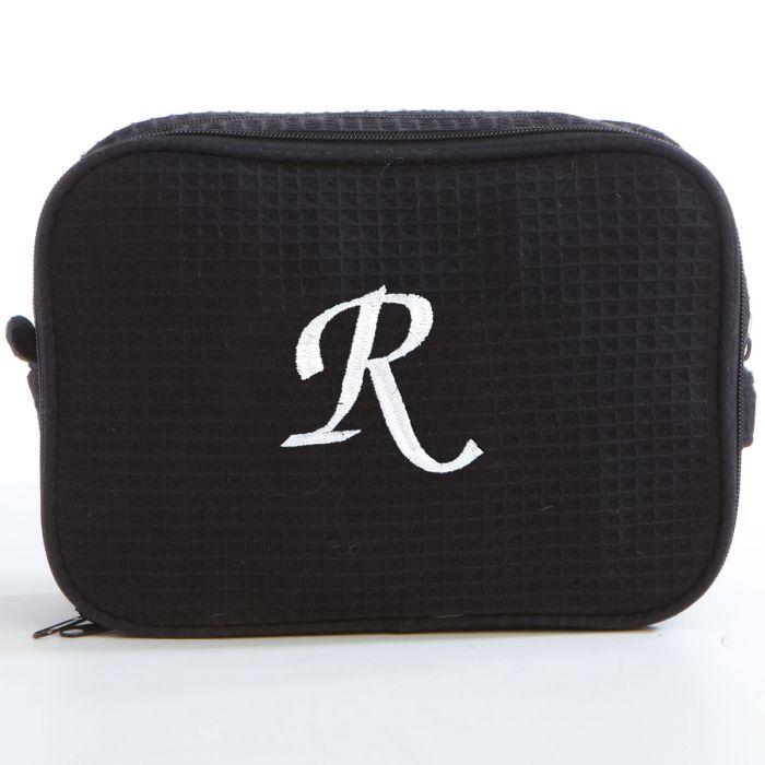 Waffle Weave Cosmetic Bag-Black-815639A