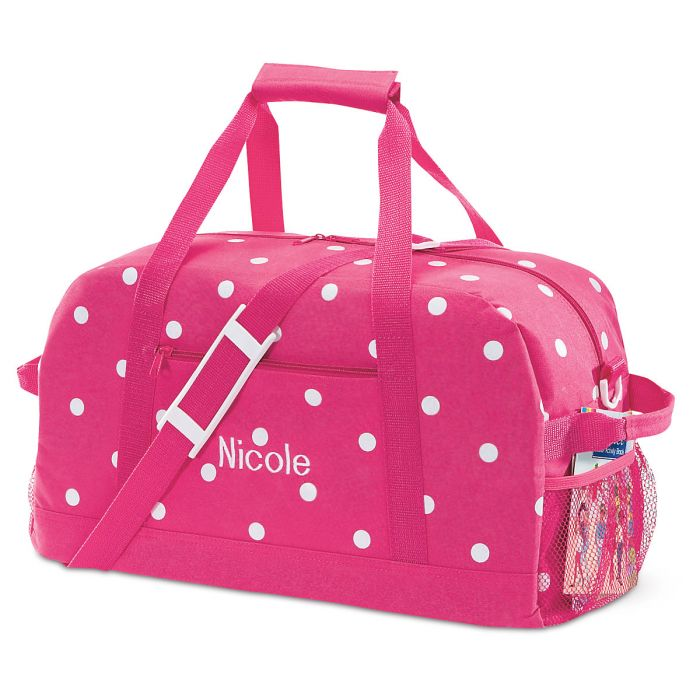 """Pink with White Dots Duffel Bags-23"""" Duffel-815835"""