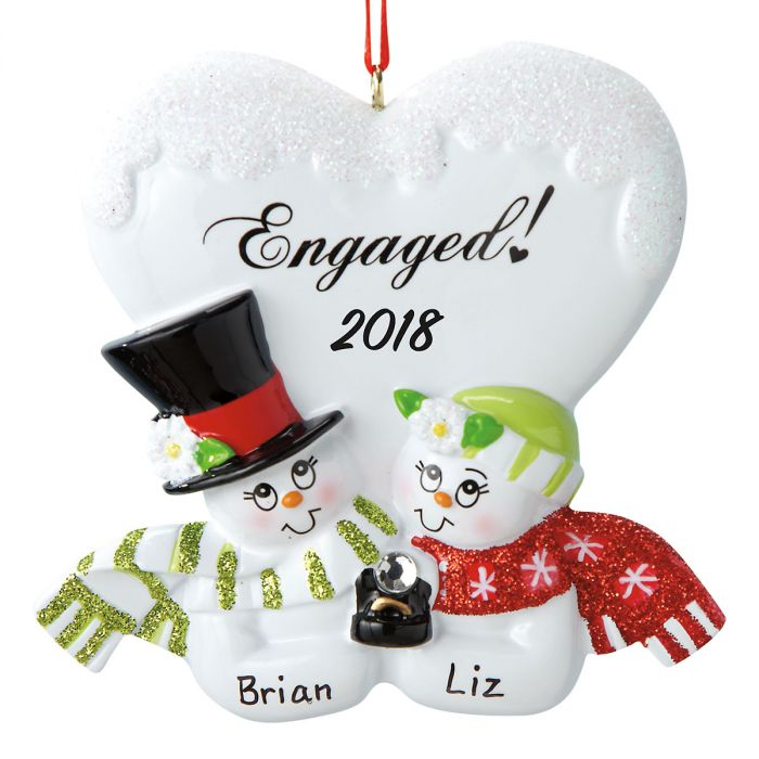 Engaged Couple Personalized Christmas Ornament