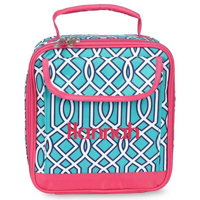 Turquoise Lattice Lunch Bag