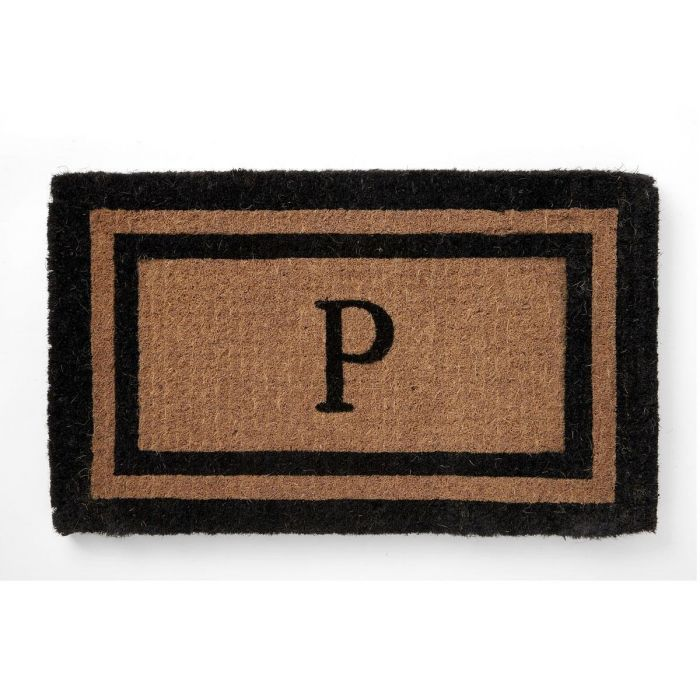 Coco Initial Double-Border Personalized Doormat