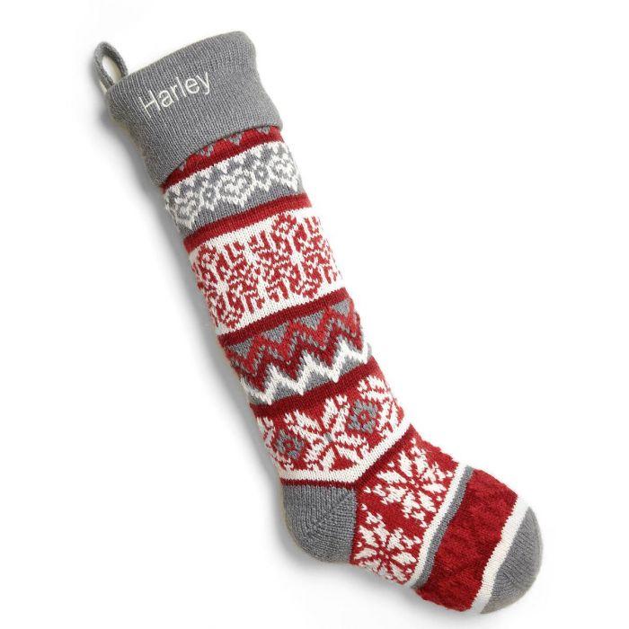 Snowflake Knit Stocking