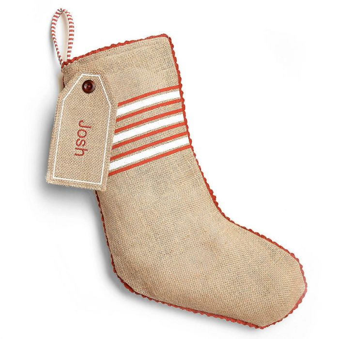 Burlap Personalized Christmas Stocking Banded With Gift Tag by Mud Pie