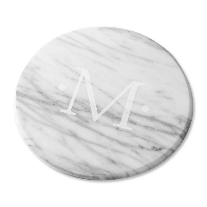 Monogrammed Marble Lazy Susan in White